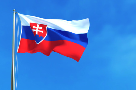 Flag of Slovakia on the blue sky background. 3D illustration
