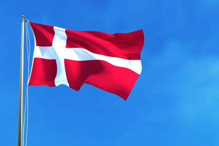 Flag of Denmark on the blue sky background. 3D illustration