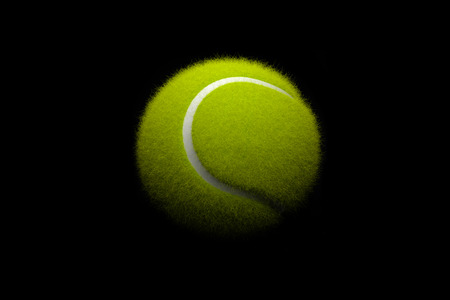 courts: Tennis ball on black background. 3D illustration