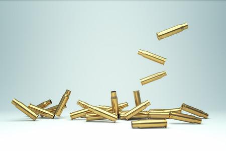 Pile of empty bullet. 3D illustration