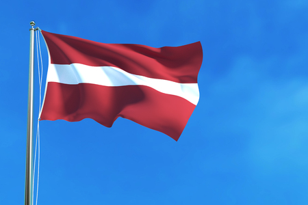Flag of Latvia on the blue sky background. 3D illustration