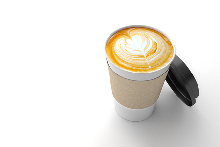 cappucino: Paper cup of coffee latte on white background. 3D illustration