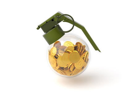 terrorist attack: Business Money Concept, Grenade and Money, Bomb with coin. 3D illustration Stock Photo