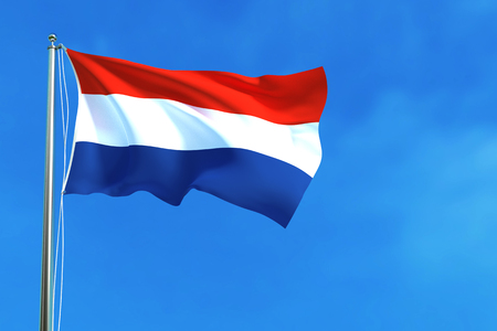 nationalities: Flag of Netherlands on the blue sky background. 3D illustration Stock Photo