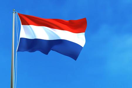 Flag of Netherlands on the blue sky background. 3D illustration Stock Photo