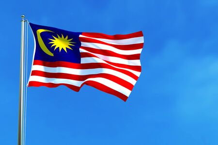 Malaysia national flag on the blue sky background. 3D illustration