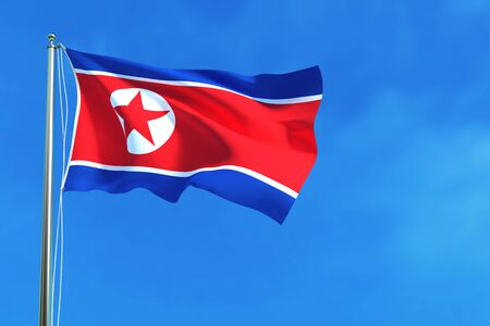 pyongyang: North Korea flag on the blue sky background. 3D illustration Stock Photo