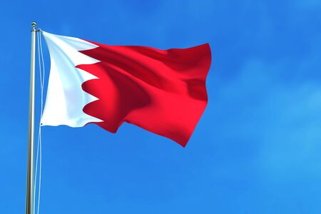 recollection: Bahrain flag  on the blue sky background. 3D illustration Stock Photo
