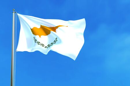 Flag of Cyprus on the blue sky background. 3D illustration