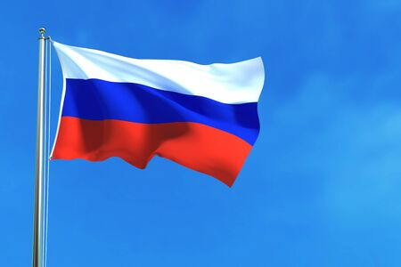 Russia flag on the blue sky background. 3D illustration Stock Photo