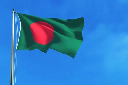 bangladesh 3d: Bangladesh flag on the blue sky background. 3D illustration