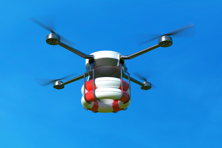 Rescue drone with lifebuoy on blue sky. 3D illustration