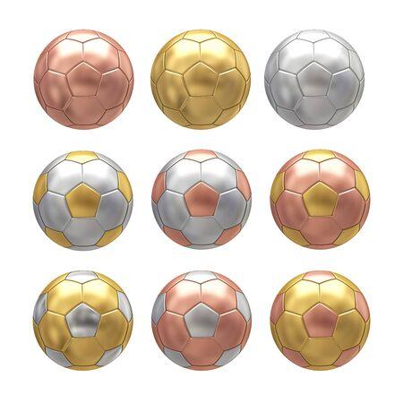 silver balls: Soccer ball on white background. 3D illustration Stock Photo