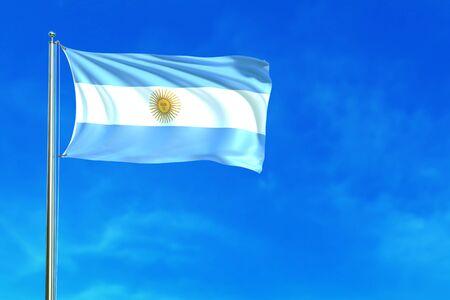 colourful sky: Argentina flag on the blue sky background. 3D illustration Stock Photo