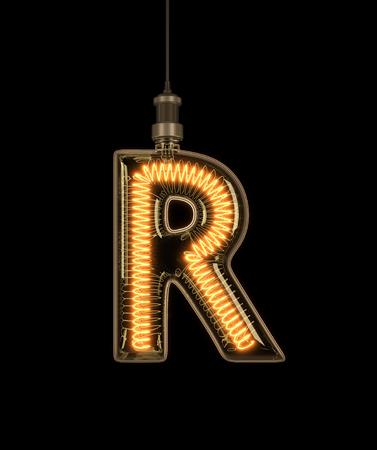 Alphabet R made of light bulb. 3D illustration