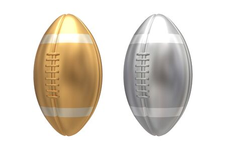 football: Gold and Silver american football on white background. 3D illustration Stock Photo