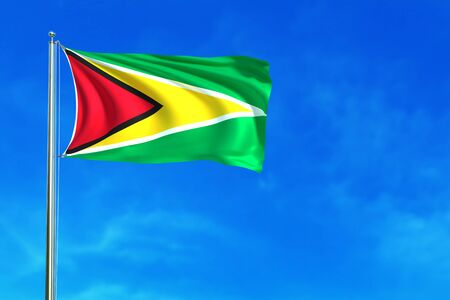 georgetown: Flag of Guyana on the blue sky background. 3D illustration
