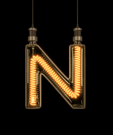 Alphabet N made of light bulb. 3D illustration