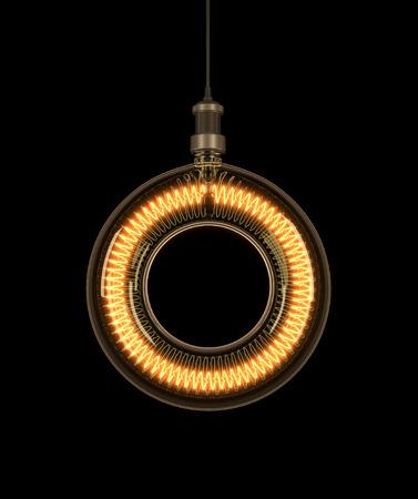 Alphabet O made of light bulb. 3D illustration Stock Photo