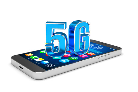 Smartphone with 5G wireless communication technology, High speed mobile internet. 3D illustration Foto de archivo