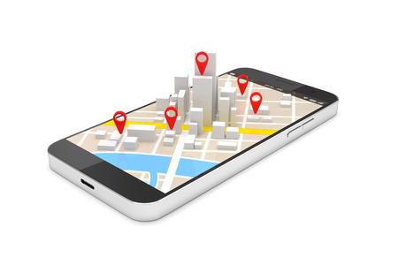 Mobiel GPS-navigatieconcept, Smartphone met stadskaartapplicatie en markeringspin-wijzer. 3D illustratie Stockfoto