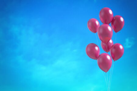 red sky: Red balloons on the blue sky background. 3D illustration