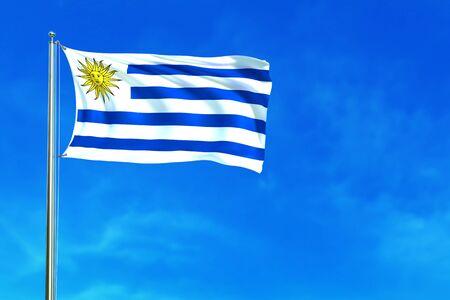Flag of Uruguay on the blue sky background. 3D illustration Stock Photo