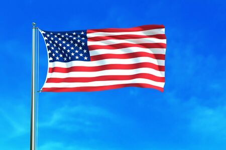symbols: American flag on the blue sky background. 3D illustration