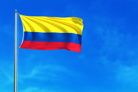 Flag of Colombiaon the blue sky background. 3D illustration