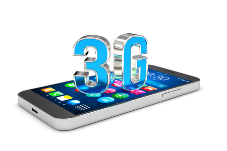 3g: Smartphone with 3G wireless communication technology, High speed mobile internet. 3D illustration