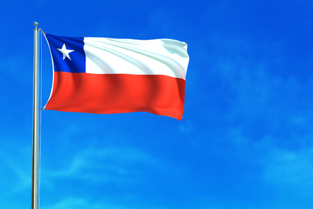 Flag of Chile on the blue sky background. 3D illustration Stock Photo