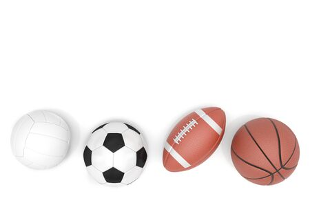 Sports balls with copy space isolated on a white background. 3D illustration Stock Photo