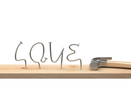 metalwork: Hammer with love letter made of metal nails on wood table. 3D illustration Stock Photo