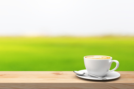nature green: Coffee cup on the wood table over blur green nature background. 3D illustration