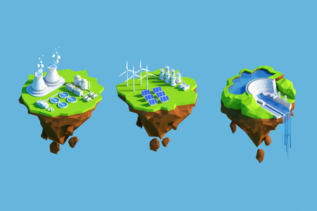 Isometric view low poly green energy concept. 3D illustration