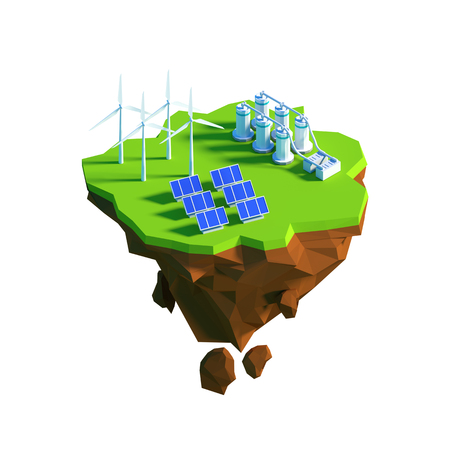 low energy: Isometric view low poly Eco Green Energy concept. 3D illustration