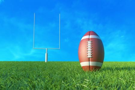 American Football on the Field. 3D illustration