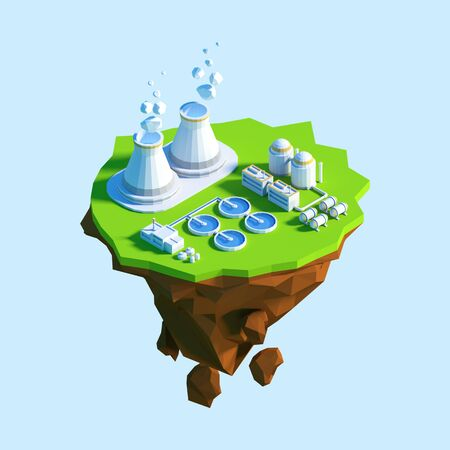 Isometric view low poly nuclear power plant. 3D illustration Stock Photo