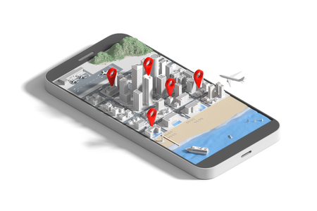 Isometric view low poly smartphone with city map application and marker pin pointer, GPS navigation concept. 3D illustration 스톡 콘텐츠