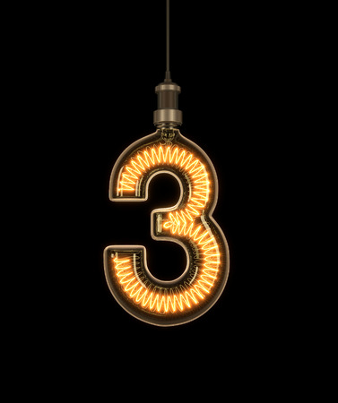 Number 3, Alphabet made of light bulb. 3D illustration Stock Photo
