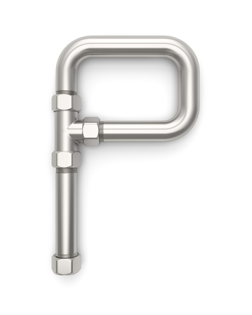 p illustration: Alphabet made of Metal pipe, letter P. 3D illustration