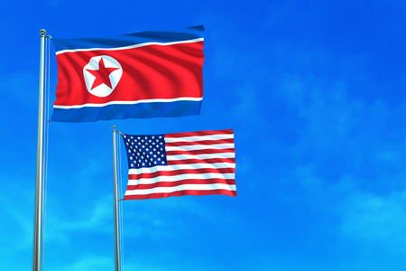 pyongyang: North Korea and United States (USA) flags on the blue sky background. 3D illustration