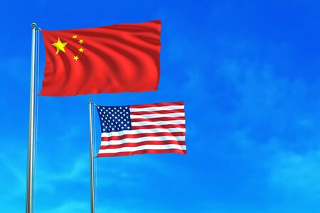 flags usa: China and United States (USA) flags on the blue sky background. 3D illustration Stock Photo