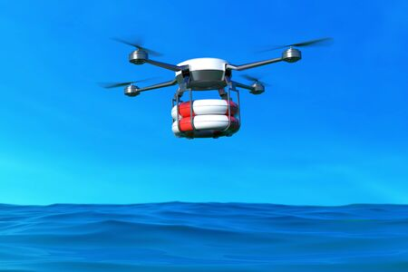 Rescue drone with lifebuoy flying over the ocean. 3D illustration