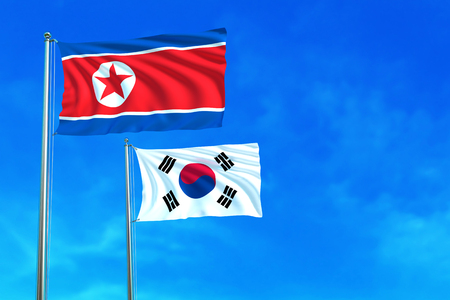 pyongyang: North and South Korea flags on the blue sky background. 3D illustration