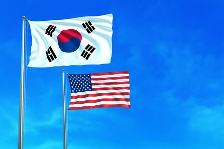 korea flag: South Korea and United States (USA) flags on the blue sky background. 3D illustration