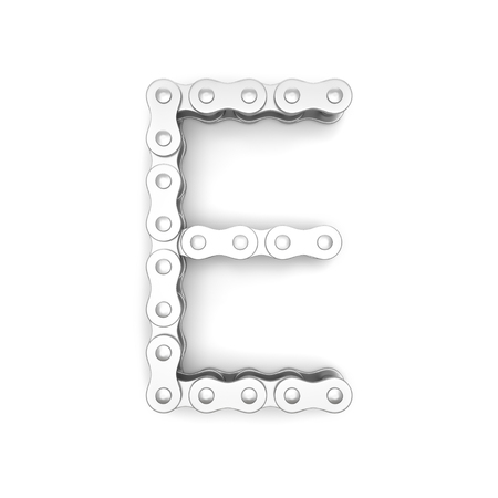 Alphabet made from Bicycle chain, letter E. 3D illustration