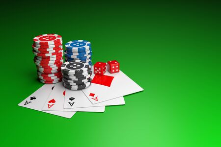 Poker chips, Playing cards and Casino dice on table. 3D illustration