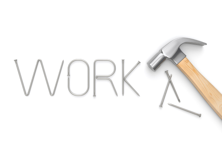 old items: Hammer with WORK letter made from metal nails on whie background. 3D illustration