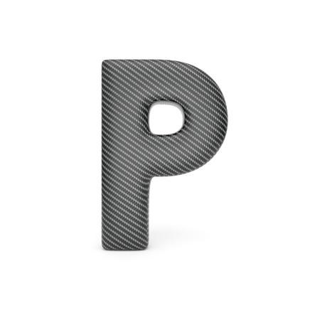 p illustration: Alphabet made of Carbon fiber, letter P. 3D illustration